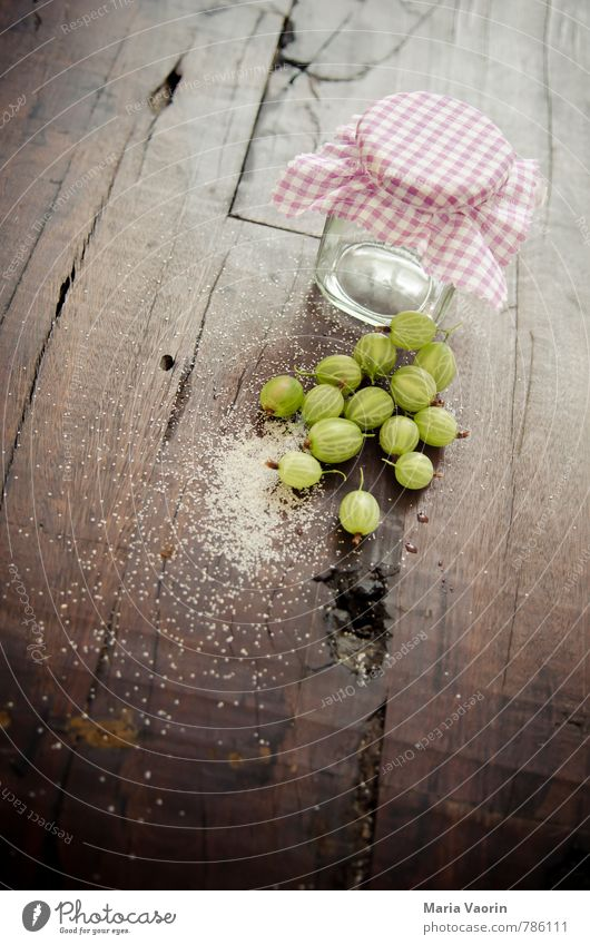 Preparation 6 Food Fruit Nutrition Fresh Delicious Juicy Sour Sweet Green Jam jar Gooseberry Sugar jam sugar Rustic Wooden table Colour photo Interior shot Day