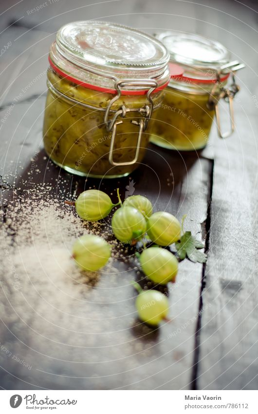 gooseberry jam Food Fruit Jam Nutrition Breakfast Table Kitchen Fresh Delicious Juicy Sour Green Preserving jar Jam jar jam sugar Sugar Self-made Gooseberry