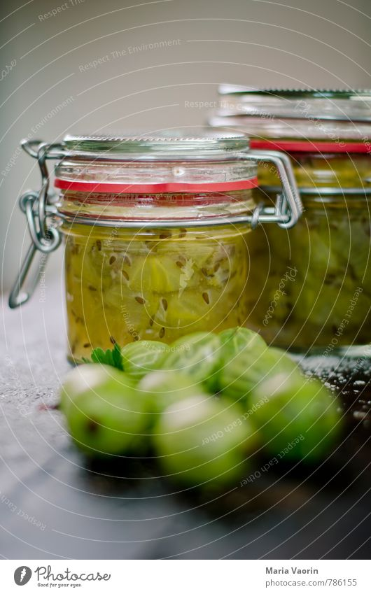 Gooseberry jam 5 Food Fruit Jam Nutrition Breakfast Fresh Delicious Juicy Sour Sweet Green Berries gooseberry jam Jam jar Preserving jar Wooden table Self-made