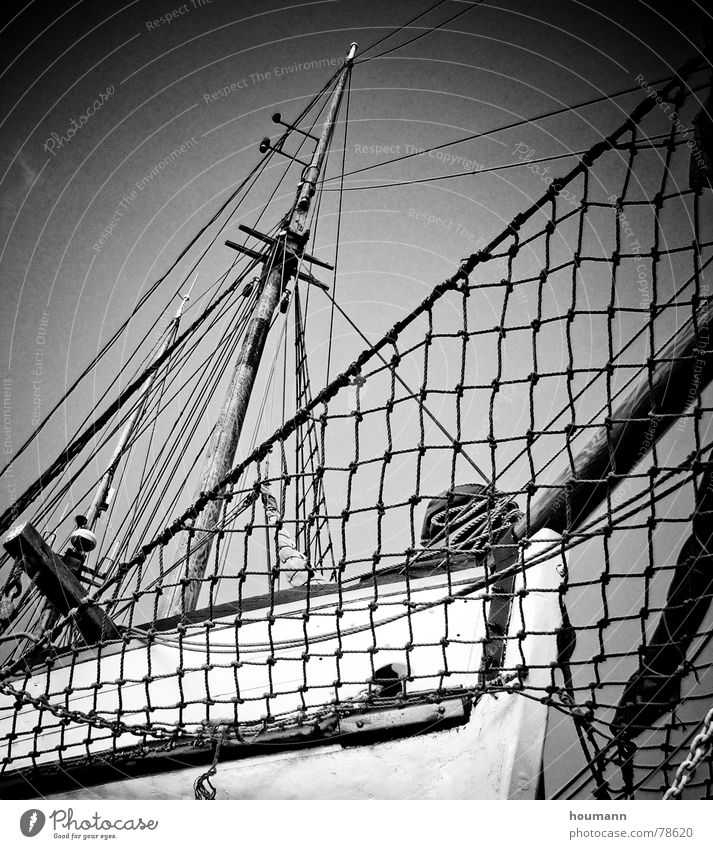 Flying Dutchman? Watercraft Sailboat Upper body Repair Sailing Black & white photo Navigation Freedom Harbour Electricity pylon ship hull wise nice Net