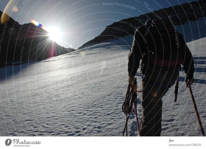 the ascent Backpack Lighting Hiking Fresh Morning Mountaineering Glacier Going Tracks Trust Beautiful Glacier National park Rope team Cold Winter Sunrise