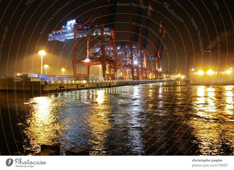 3crane Lamp Industry Logistics Water Town Harbour Watercraft Container Dark Trashy Beginning Depart Dock Crane Lighting Jetty Germany Night shot Hamburg ship
