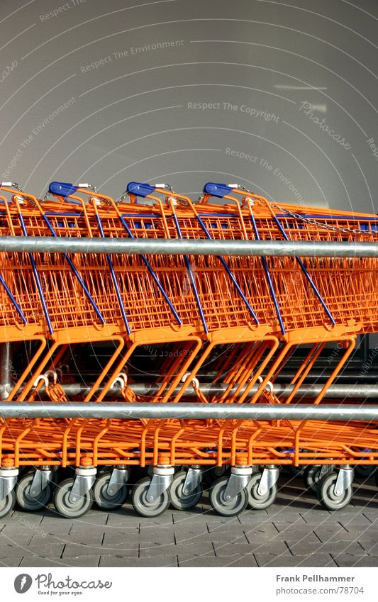 THE SHOPPING CART Shopping Trolley Coil Rod Plus Carriage Simple Obscure Orange Blue
