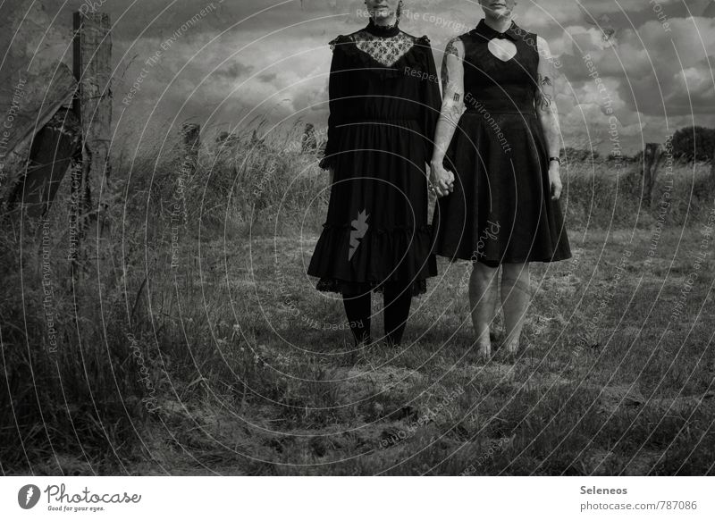 a storm is brewing Human being Feminine Woman Adults 2 Environment Nature Landscape Sky Clouds Horizon Gale Plant Meadow Field Dress Tattoo Dark Creepy Emotions