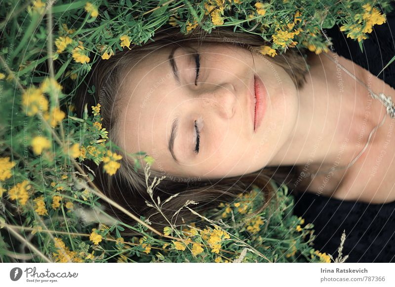 sleeping beauty Human being Nature Youth (Young adults) Beautiful Relaxation Young woman Flower Joy 18 - 30 years Face Adults Emotions Grass Hair and hairstyles