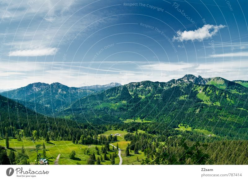 homeland Vacation & Travel Tourism Trip Hiking Environment Nature Landscape Sky Clouds Summer Beautiful weather Meadow Forest Alps Mountain Lake Tall Blue Green