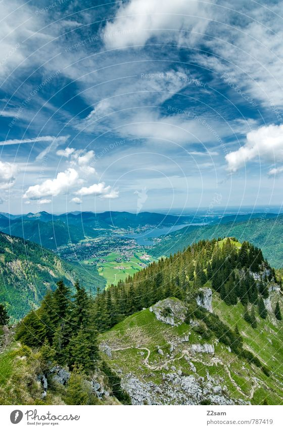 View to Lake Tegernsee Vacation & Travel Trip Hiking Climbing Mountaineering Environment Nature Landscape Sky Clouds Summer Beautiful weather Tree Forest Alps