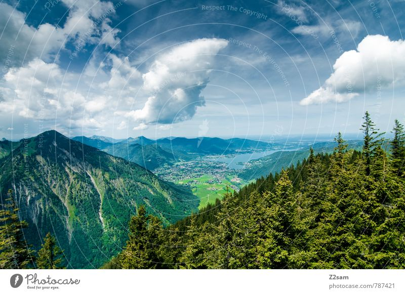 Sky Nature Vacation & Travel Blue Green Summer Tree Relaxation Landscape Clouds Forest Environment Mountain Lake Idyll Tourism