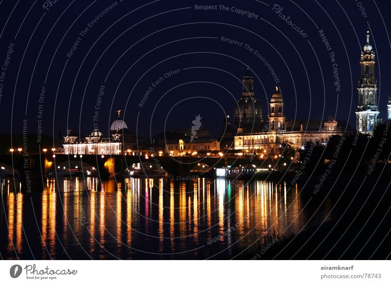 City Dark Moody Religion and faith Art Bridge Church Tourism River Romance Culture Night sky Dresden Castle Skyline Monument