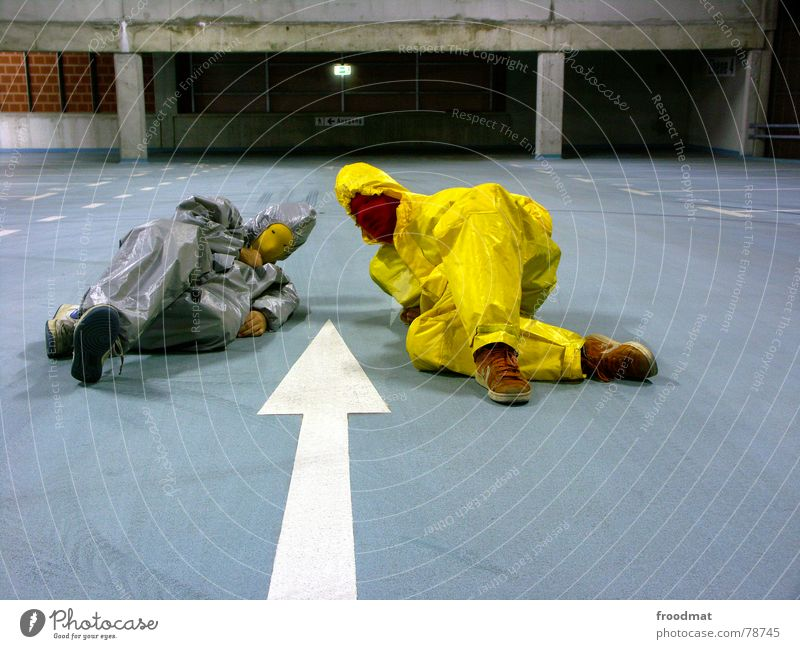 Blue Yellow Gray Art Posture Lie Mask Arrow Suit Surrealism Parking garage Gorgeous Arts and crafts  Gray-yellow