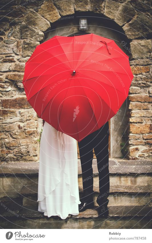 Love goes to head Masculine Feminine Woman Adults Man Couple Partner 2 Human being Wall (barrier) Wall (building) Stairs Facade Dress Suit Wedding dress