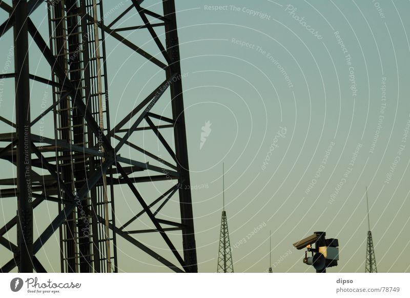 Sky Building Energy industry Modern Electricity Television Tower Protection Camera Observe Steel GDR Testing & Control Electricity pylon Column