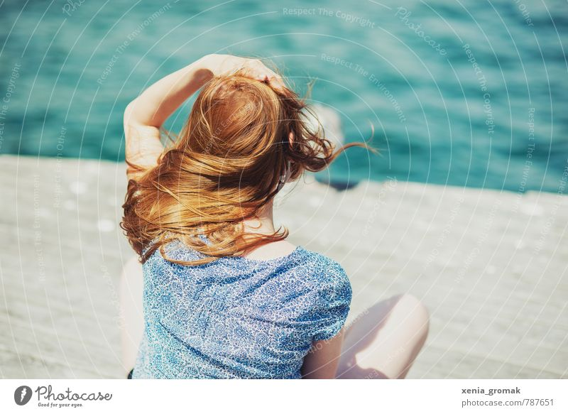 Human being Vacation & Travel Youth (Young adults) Summer Water Young woman Relaxation Ocean Red Far-off places Beach Feminine Hair and hairstyles Lifestyle