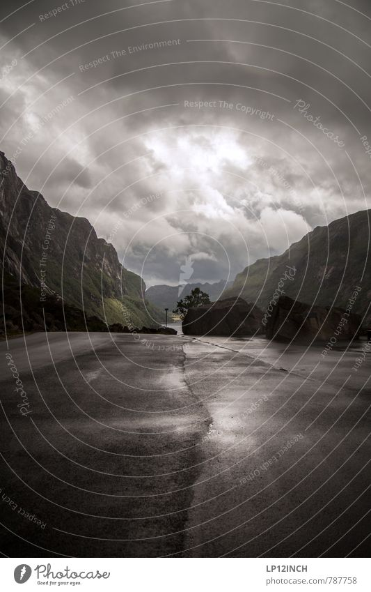N O R W A Y - GraY - XVII Tourism Adventure Far-off places Landscape Bad weather Rain Thunder and lightning Rock Mountain Norway Street Lanes & trails Dark