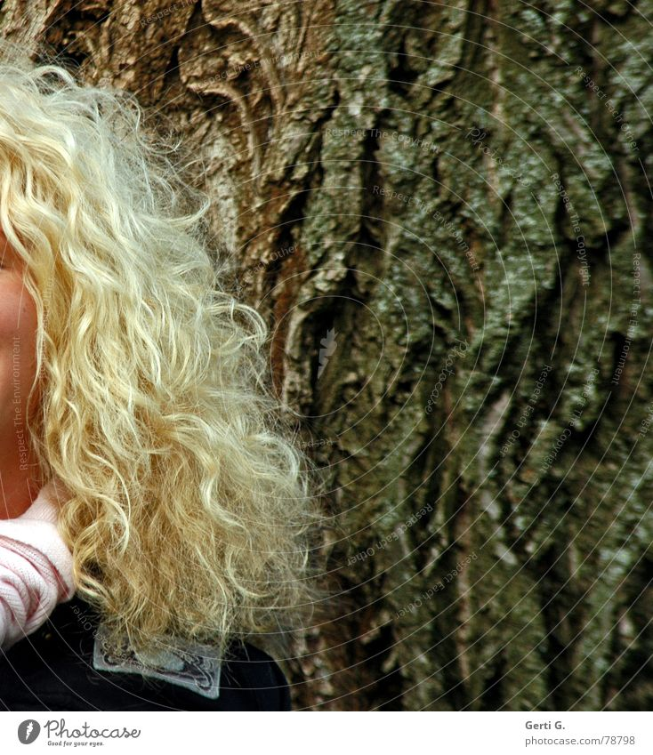 Woman Nature Tree Beautiful Joy Calm Cold Feminine Freedom Style Hair and hairstyles Think Brown Funny Contentment Blonde
