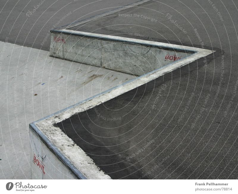 THE SKATEPARK Sports ground Concreting Modest Concrete Simple Gray Red Style Asphalt Pavement Gloomy Approach road Cold Simplistic Playing gas concrete