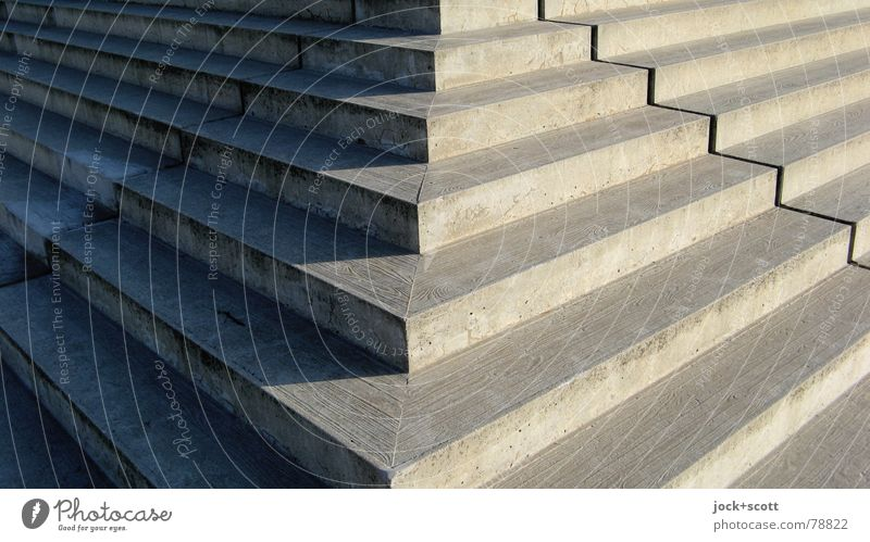 angle stair Architecture Beautiful weather Prenzlauer Berg Stairs Lanes & trails Concrete Line Surface structure Sharp-edged Firm Large Eroticism Point Warmth