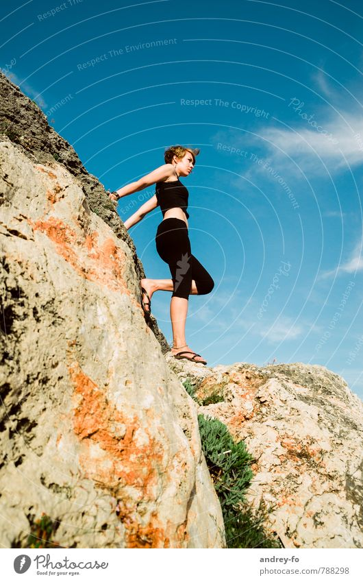 Human being Woman Sky Child Vacation & Travel Youth (Young adults) Summer Young woman 18 - 30 years Adults Mountain Life Feminine Healthy Rock 13 - 18 years