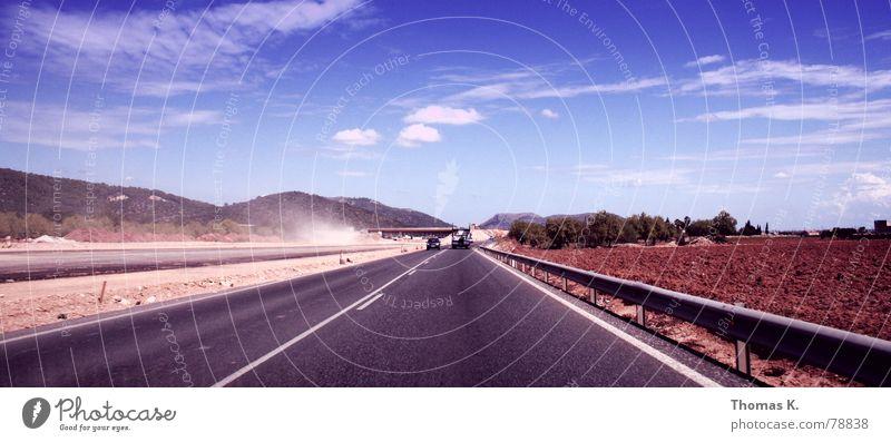 Sky Sun Blue Summer Clouds Street Mountain Lanes & trails Sand Line Horizon Logistics Construction site Asphalt Hill Highway