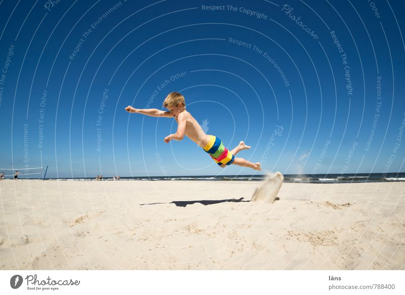 Human being Child Vacation & Travel Youth (Young adults) Summer Ocean Beach Coast Boy (child) Freedom Flying Jump Infancy Success Tourism Trip