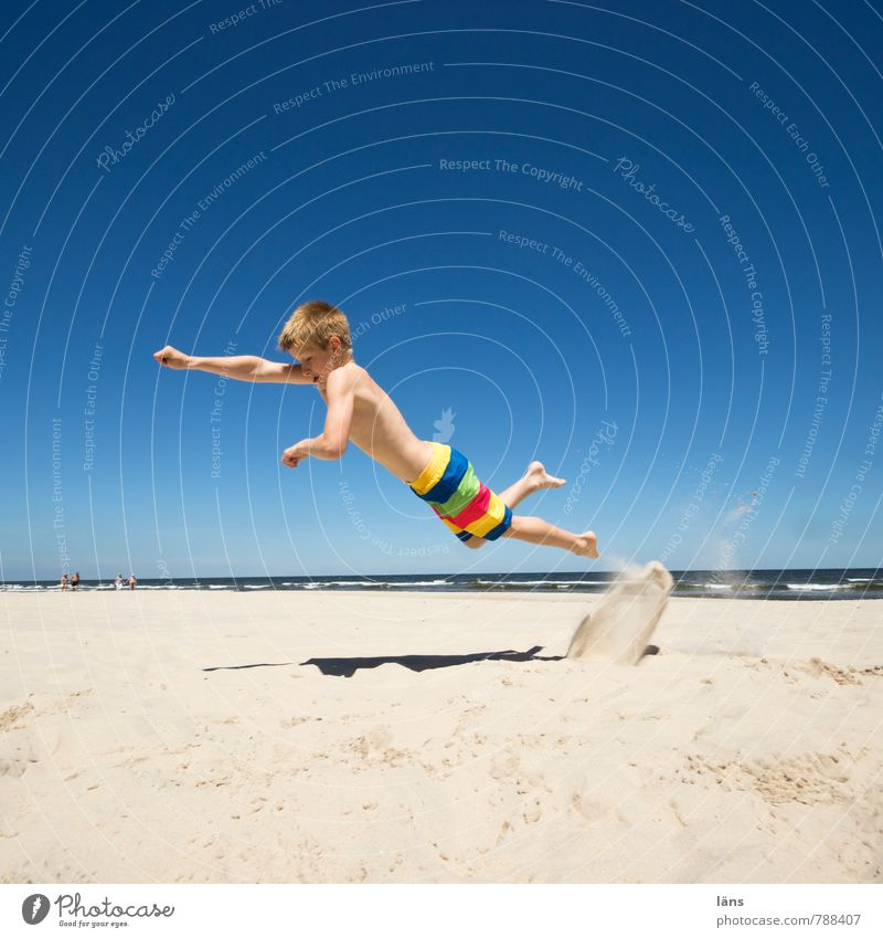 just flying... Summer Child Boy (child) Infancy 1 Human being 8 - 13 years Sand Water Sky Cloudless sky Beautiful weather Coast Beach Baltic Sea Movement Flying