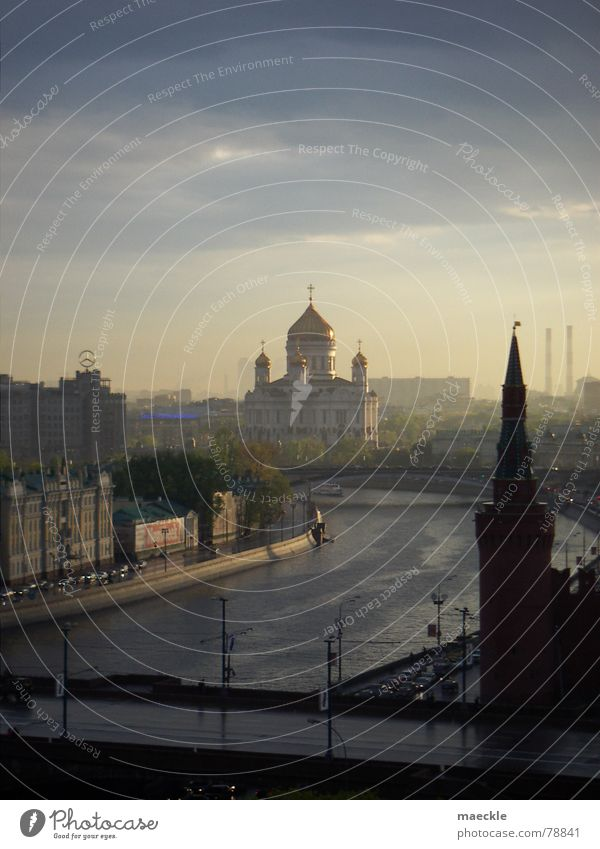 Water Sky Sun City Blue Clouds Yellow Orange Europe River Romance Historic Russia Dusk Painted Moscow