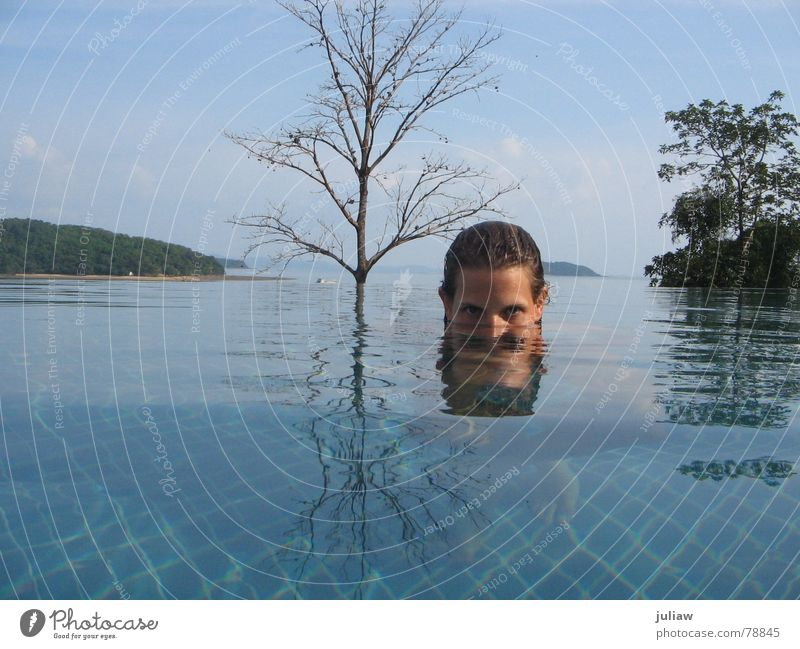 Water Tree Ocean Blue Vacation & Travel Swimming pool Swimming & Bathing Tile Underwater photo Surrealism Thailand