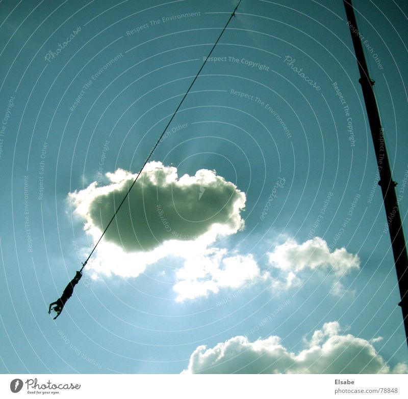 On the rope Clouds Back-light Crane Jump Bungee jumping Sky Joy Summer Blue Sun Rope Nerviness To fall Flying Music festival Free Fall bungee jump ziget