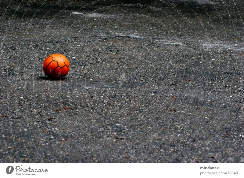 Play with me! Gray Red Playing Loneliness Gravel Parking lot Pebble Parking area Asphalt Leisure and hobbies Sports Ball Orange Empty Stone Street