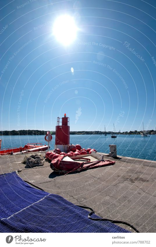 Why are you photographing that? Sky Cloudless sky Summer Warmth Esthetic Mediterranean sea Harbour postage paid Majorca Blue Red Fire department Dinghy Lifebuoy