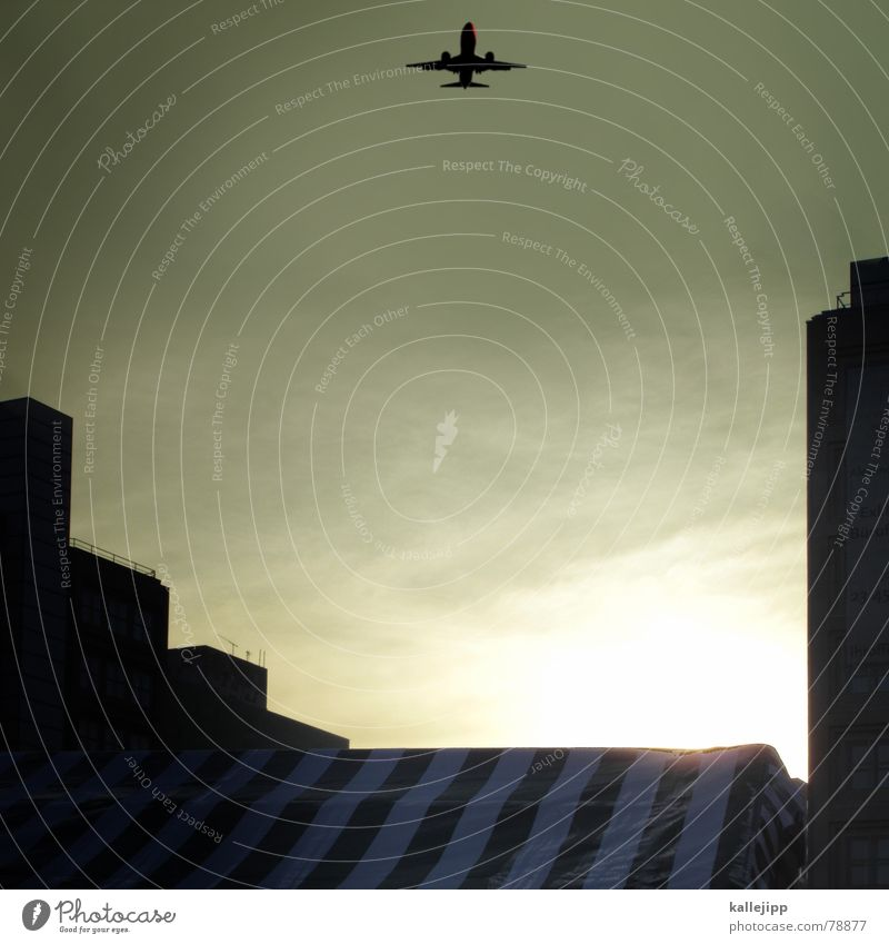 Sky City Sun Berlin Airplane High-rise Stripe Living or residing Universe Airplane landing Jet Astronaut Airfield Passenger plane Space station