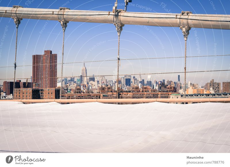 View from the Brooklyn Bridge Vacation & Travel Tourism Sightseeing City trip Cloudless sky Beautiful weather New York City USA Town Downtown Skyline Populated