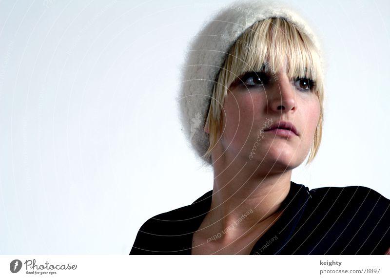 Woman Beautiful Black Eyes Hair and hairstyles Mouth Blonde Nose Dress Cap Bangs