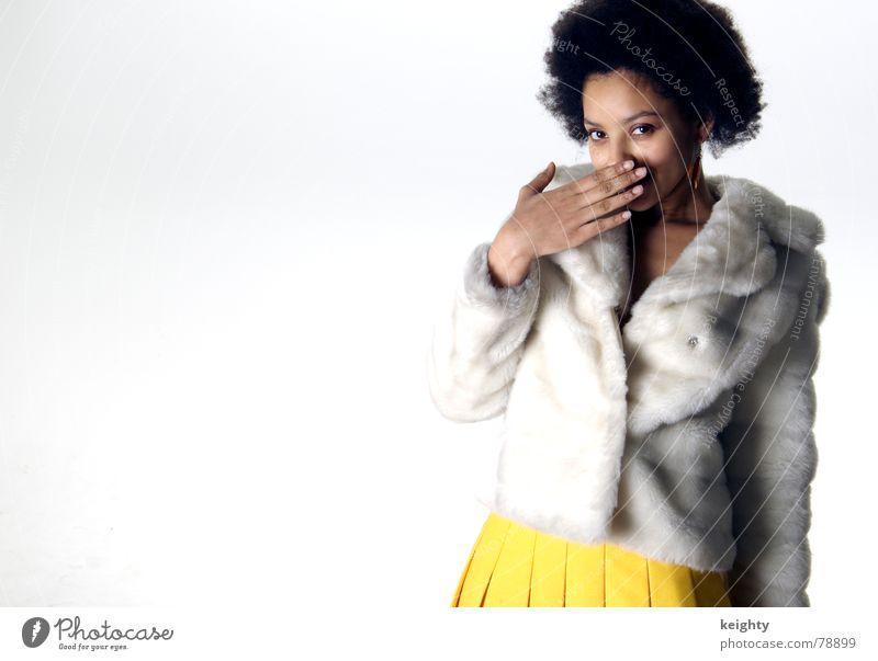 Woman Hand Joy Yellow Brown Stand Pelt Jacket American African-American