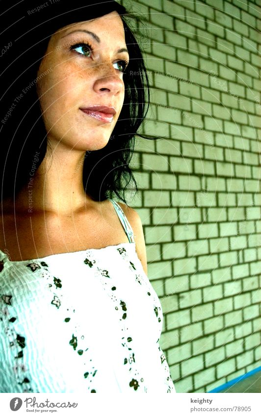 Woman Flower Green Summer Black Hair and hairstyles Wall (barrier) Derelict Brick Top