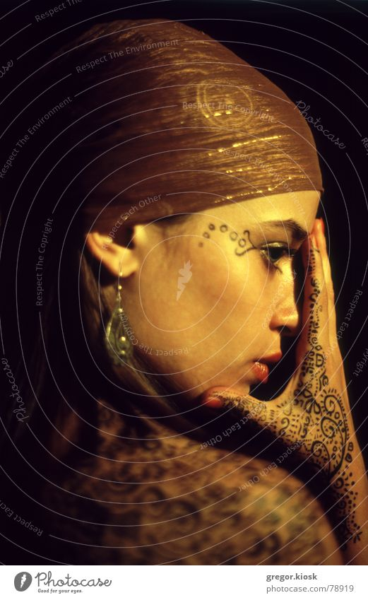 Golden touch Make-up India False Ornament Close-up Girl Hand Passion Portrait photograph Woman Beautiful scarf wrap ear ring oriental spiritual chakra humerus