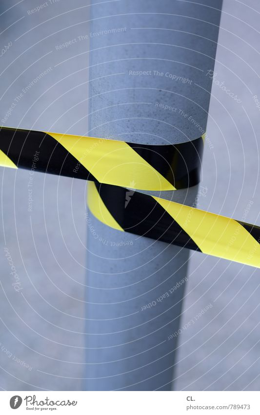 Black Yellow Lanes & trails Metal Safety Plastic Barrier Bans Crime scene Lamp post Wrapped around