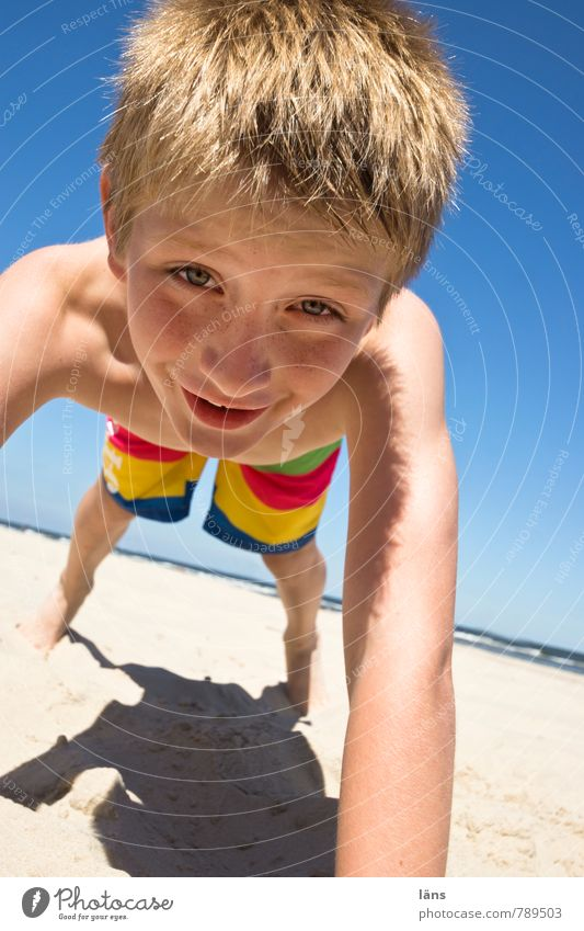 happy boy on the beach Contentment Leisure and hobbies Playing Vacation & Travel Summer Summer vacation Beach Ocean Child Boy (child) Infancy Life Head Arm 1
