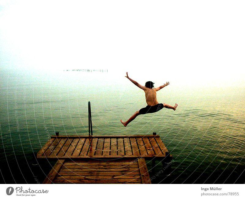 Man Water Ocean Joy Jump Swimming & Bathing Deep Footbridge Aquatics