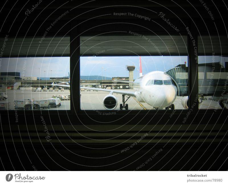 Window Airplane Flying Transport Switzerland Airport In transit Jet Zurich Aircraft Passenger plane Control desk