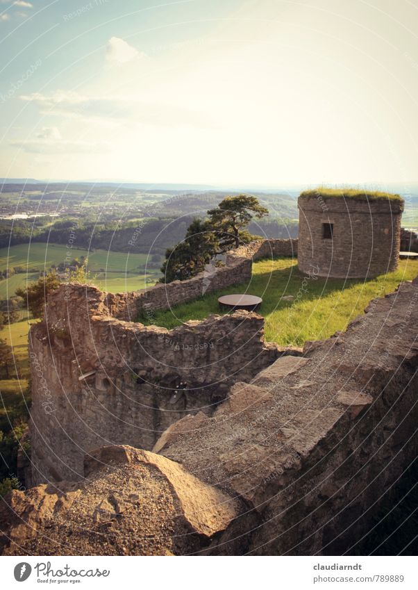 castle walls Landscape Horizon Summer Beautiful weather Tree Grass Meadow Field Hill Castle Ruin Manmade structures Building Wall (barrier) Wall (building) Old