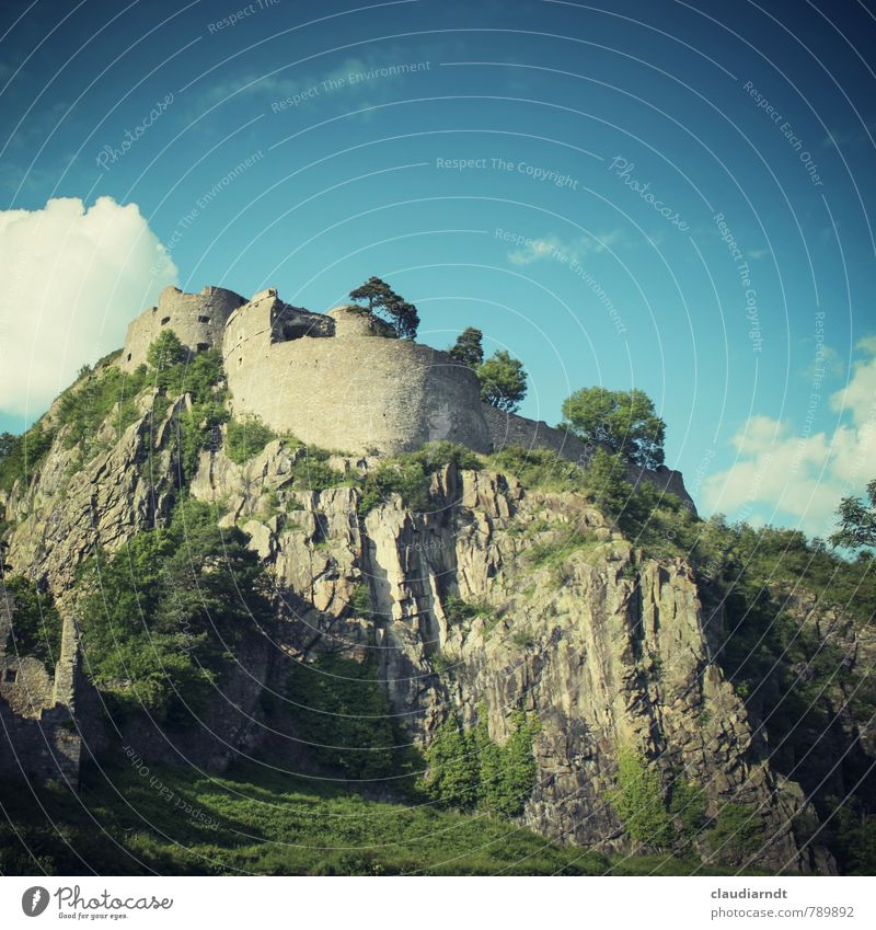 Hohentwiel Landscape Sky Clouds Summer Beautiful weather Tree Rock Castle Ruin Manmade structures Architecture Wall (barrier) Wall (building) Tourist Attraction