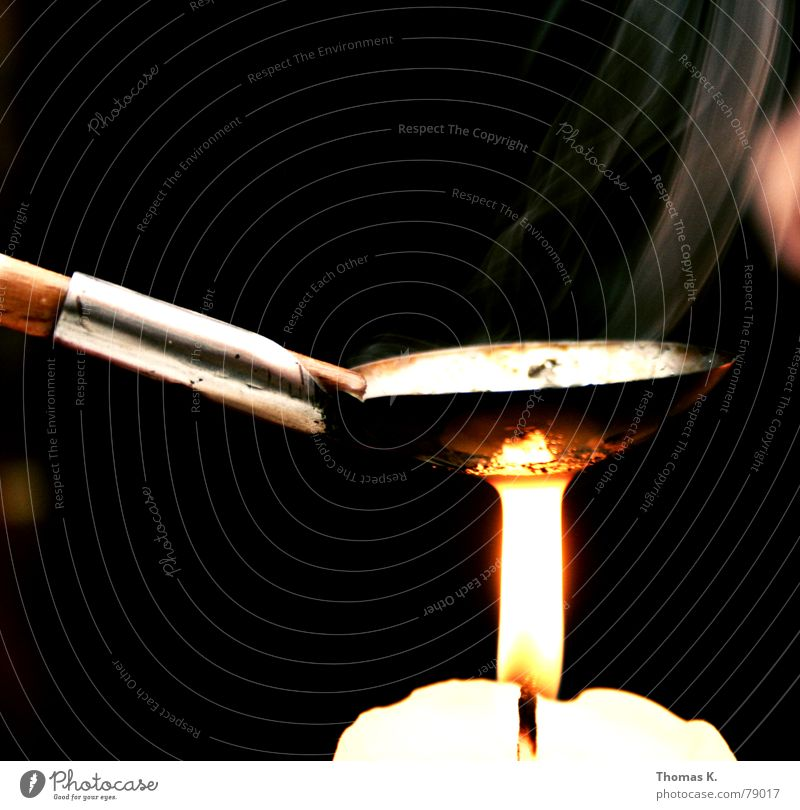 Lead pouring (or: no, this is not a drug scene!) Year New Year's Eve Candle Spoon Light Wax Wood Door handle Melt Smoke Evening Dark Heroin Junkie Intoxicant