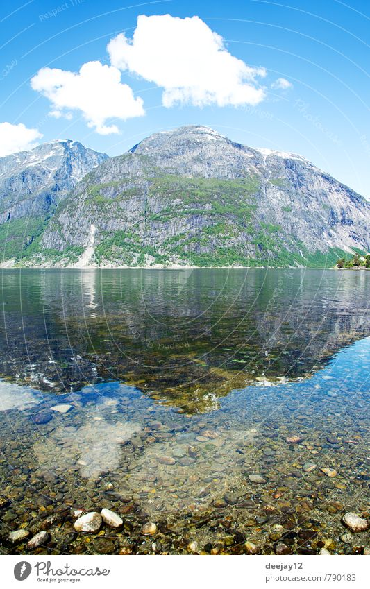 Eidfjord, Norway Swimming & Bathing Nature Landscape Sand Air Water Sky Clouds Summer Weather Beautiful weather Warmth Rock Mountain Snowcapped peak Fjord Stone