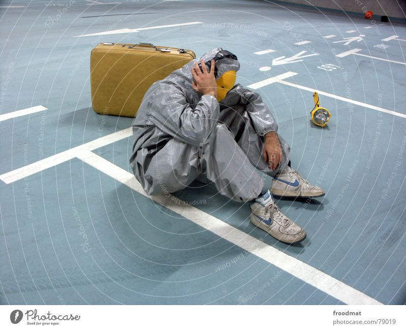 Blue Joy Yellow Lamp Relaxation Music Gray Art Funny Crazy Sit Mask Listening Suit Stupid Headphones