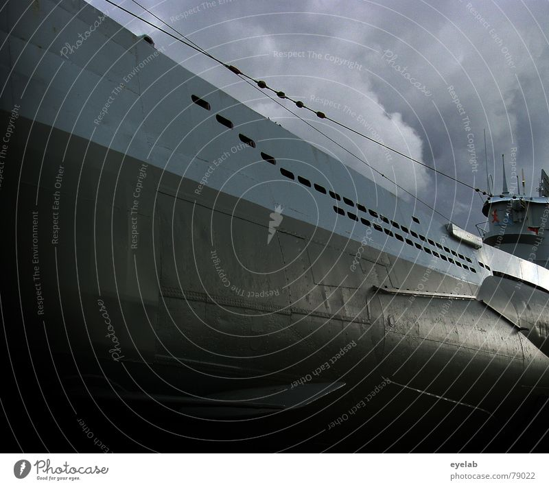 The Wolfgang Petersen memory photo Submarine Fascist Dive Nautilus Film industry Torpedo Gray Clouds War Black Germany Hollywood Sky Might Fear Panic Peace