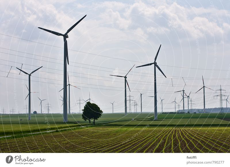 (wind)wheel of time Environment Nature Landscape Plant Sky Clouds Summer Far-off places Infinity Sustainability Power Field Wind energy plant Energy industry