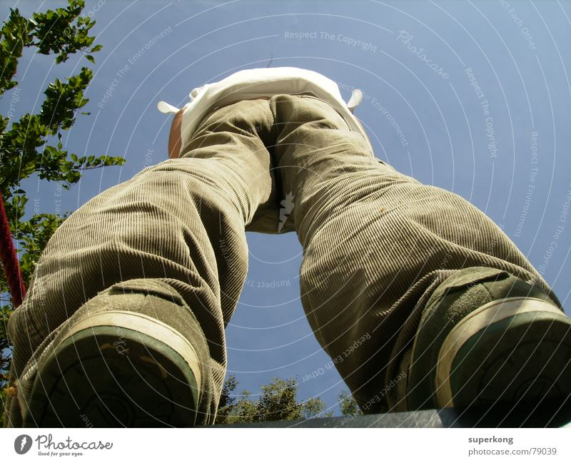 Man Blue Tree Legs Footwear Back Perspective Hind quarters Colossus