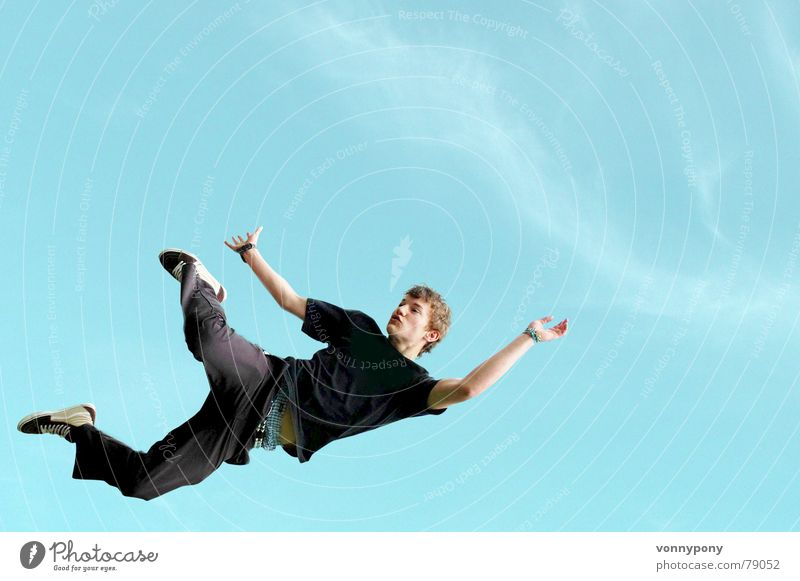 Sky Man Blue Joy Black Jump Leisure and hobbies T-shirt Positive Hop