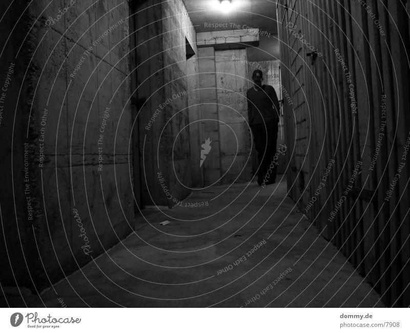 dirty Cellar Wood Concrete Man Dark Architecture Black & white photo Human being kaz